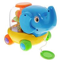 """Развивающая игрушка-каталка Baby Mix  """"Слоник с шариками""""  с веревочкой"""