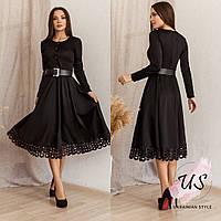 Женское однотонное трикотажное платье миди с поясом. 4 цвета!, фото 1