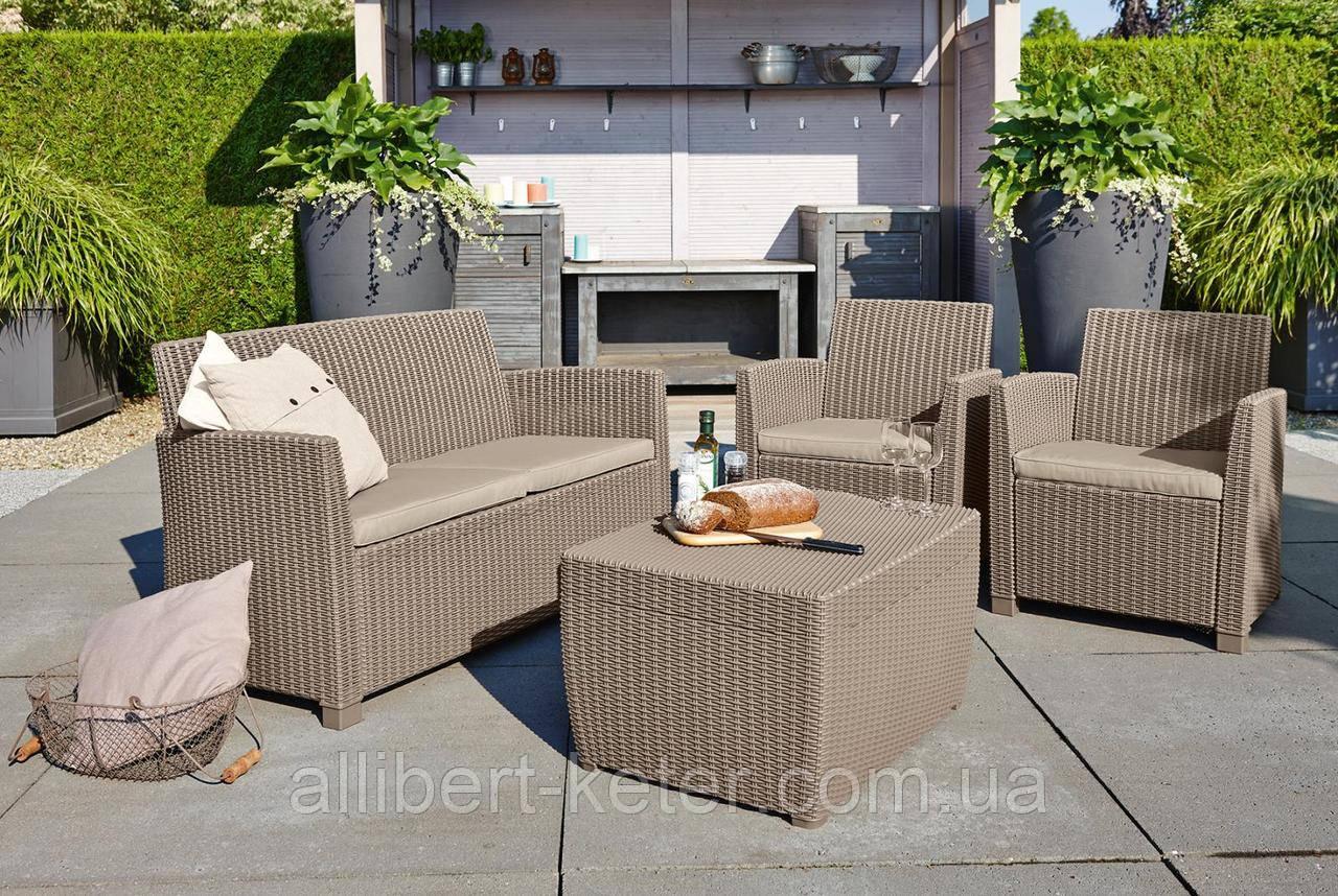 Набор садовой мебели Corona Set With Cushion Box Cappuccino ( капучино ) из искусственного ротанга