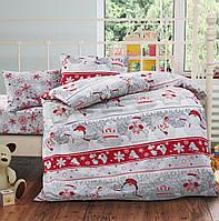 Снеговички красные, постельное белье из турецкого 100% хлопка премиум