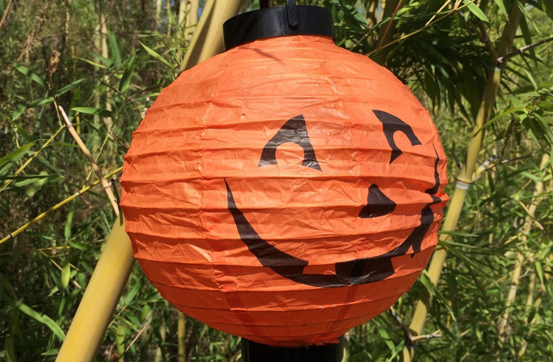 "Светящийся подвесной  шар на хеллоуин ""Тыква"", 20 см"