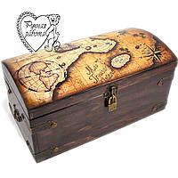 Шкатулка сундук Старые карты, сундук пирата  30 * 15 *14 см