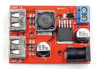 Стабилизатор понижающий два USB DC-DC 7-24 В на 5В 3А, фото 1