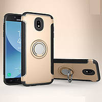 Чехол для Samsung Galaxy J5 2017, бампер с подставкой и магнитной пластиной, золотистый