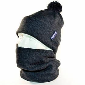 """Комплект молодежный """"Pitt"""" шапка с помпоном и бафф на флисе темный джинс"""