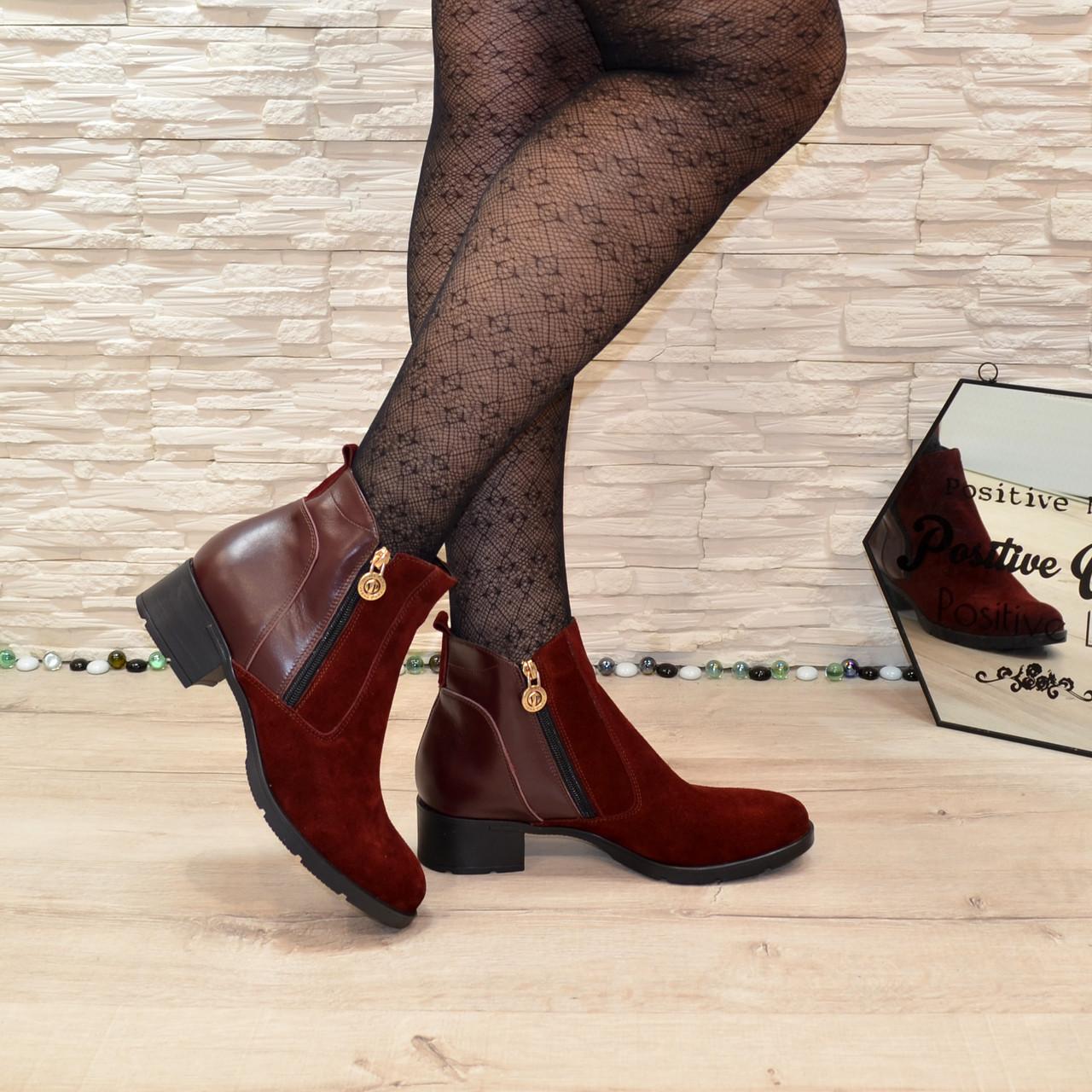 Ботинки бордовые женские   на каблуке