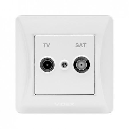 Розетка белая tv и sat одинарная конечная Videx binera (vf-bnsk2tvsate-w)