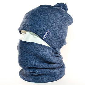 """Комплект молодежный """"Pitt"""" шапка с помпоном и бафф на флисе светлый джинс"""