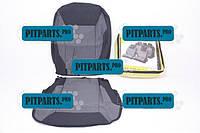 Чехлы сидений 2110, 2111, 2112 черные с серыми вставками комплект