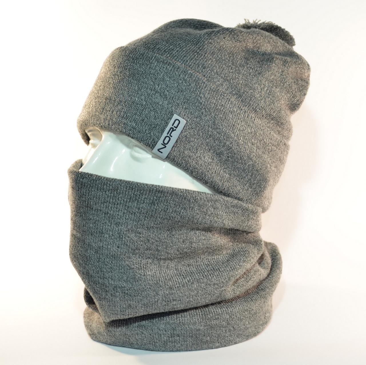 """Комплект молодежный """"Pitt"""" шапка с помпоном и бафф на флисе серый"""