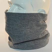 """Комплект молодежный """"Pitt"""" шапка с помпоном и бафф на флисе серый, фото 3"""