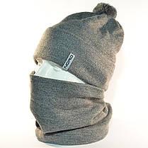 """Комплект молодежный """"Pitt"""" шапка с помпоном и бафф на флисе серый, фото 2"""