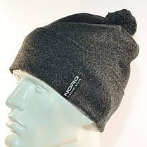 """Комплект молодежный """"Pitt"""" шапка с помпоном и бафф на флисе темно серый, фото 3"""