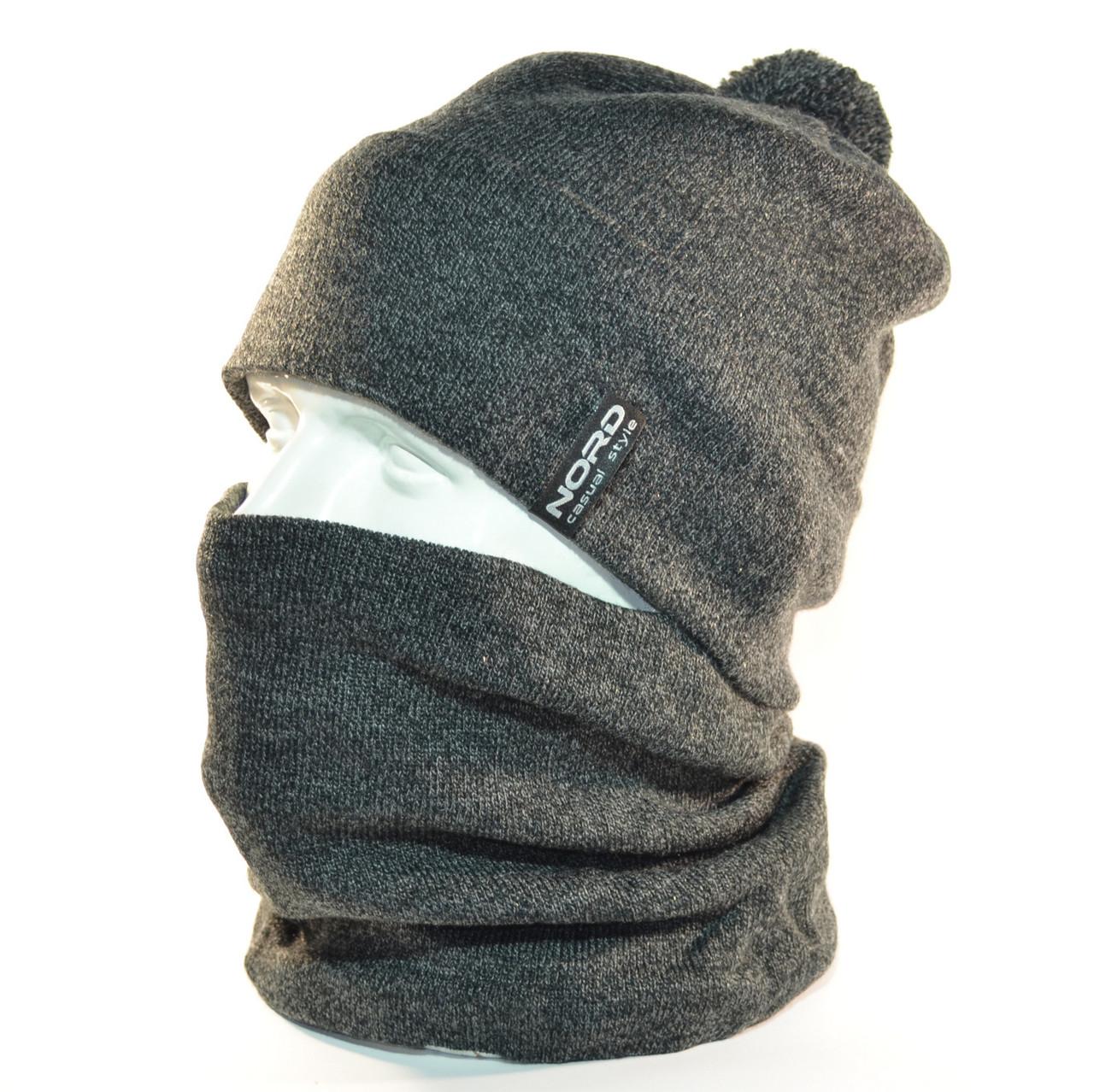 """Комплект молодежный """"Pitt"""" шапка с помпоном и бафф на флисе темно серый"""