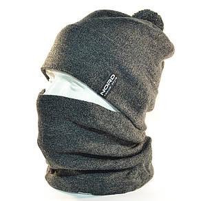 """Комплект молодежный """"Pitt"""" шапка с помпоном и бафф на флисе темно серый, фото 2"""
