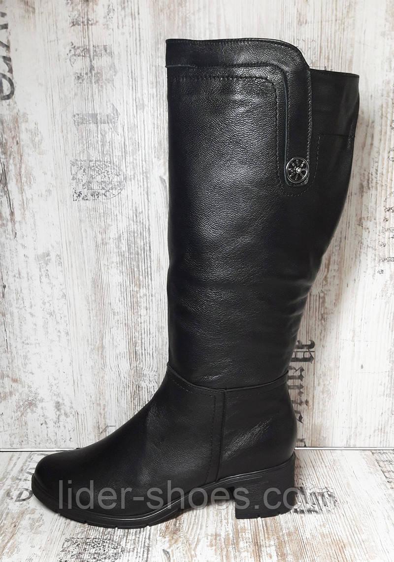 Женские сапоги на широкую ногу кожаные