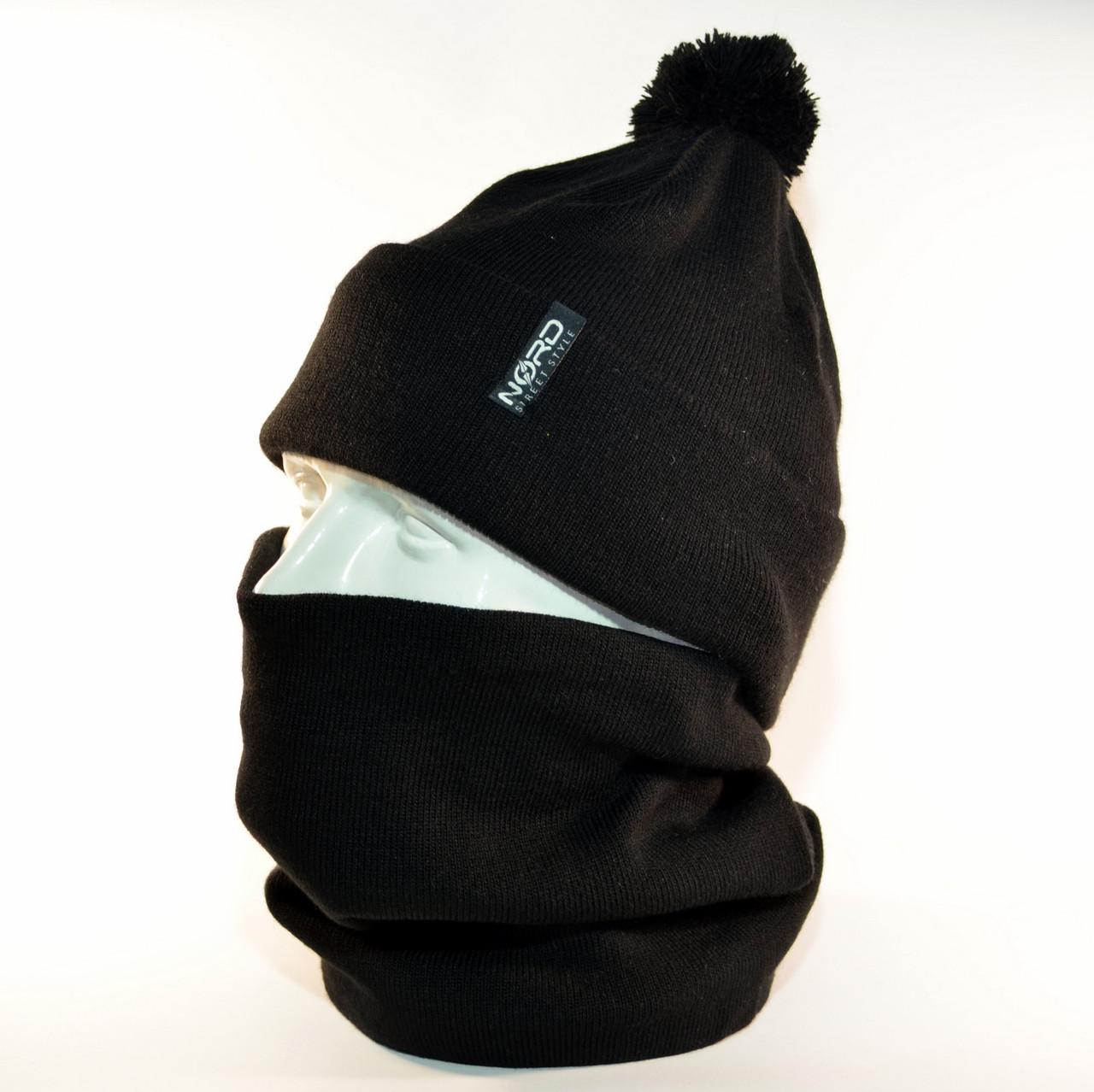 """Комплект молодежный """"Pitt"""" шапка с помпоном и бафф на флисе черный"""