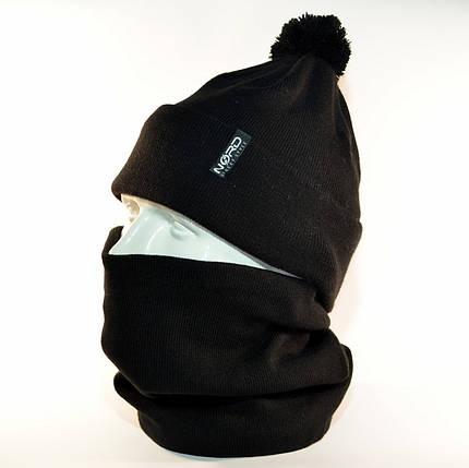 """Комплект молодежный """"Pitt"""" шапка с помпоном и бафф на флисе черный, фото 2"""