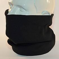 """Комплект молодежный """"Pitt"""" шапка с помпоном и бафф на флисе черный, фото 3"""