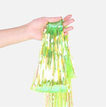 Дождик для фотозоны перламутровый салатовый - 1*1м