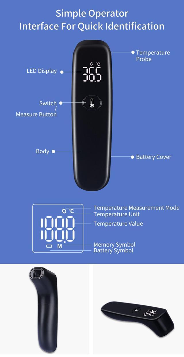 Инфракрасный бесконтактный цифровой термометр Xiaomi Youpin iHealth T09 Черный