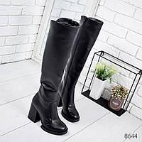 Сапоги женские ботфорты Nolan черные , женская обувь