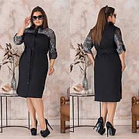 Платье рубашка с гипюровым рукавом  2689 -Размеры: 48-50,52-54,56-58