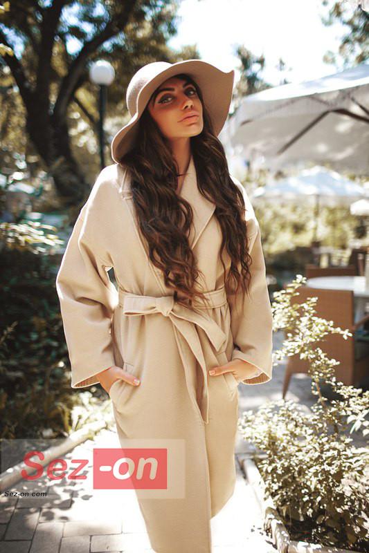 Кашемірове Пальто жіноче з поясом