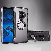 Чехол для Samsung S9 (G960), бампер с подставкой, магнитной пластиной, серый