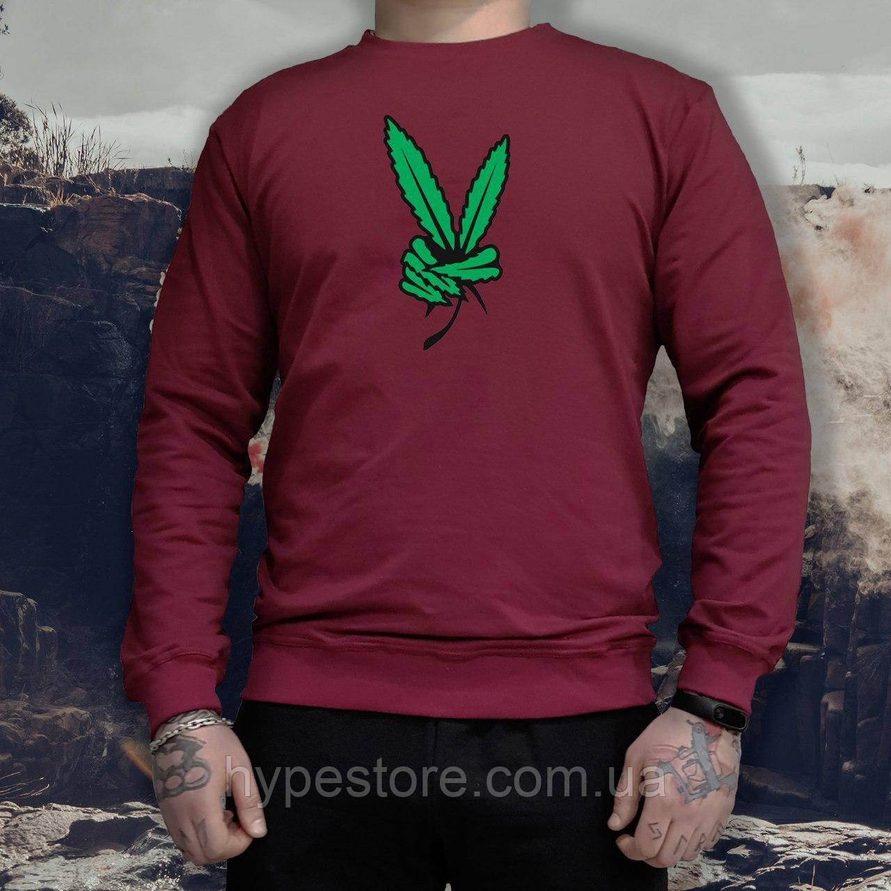 Мужской спортивный бордовый свитшот, кофта, толстовка, реглан Weed, конопля, марихуана