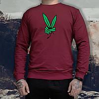 Мужской спортивный бордовый свитшот, кофта, толстовка, реглан Weed, конопля, марихуана, фото 1