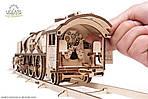 Локомотив c тендером V-Экспресс | UGEARS | Механический 3D конструктор из дерева, фото 7