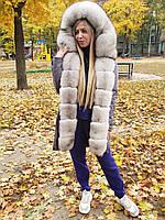 Женская парка с мехом песца ППЦ-063