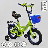 """Велосипед 12"""" дюймов 2-х колёсный G-12042 """"CORSO"""" (1) САЛАТОВЫЙ, ручной тормоз, звоночек, сидение с ручкой, доп. колеса, СОБРАННЫЙ НА 75% в коробке"""