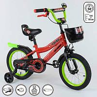 """Велосипед 14"""" дюймов 2-х колёсный R - 14269 """"CORSO"""" (1) ручной тормоз, звоночек, сидение с ручкой, доп. колеса, СОБРАННЫЙ НА 75% в коробке"""