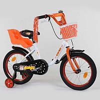 """Велосипед 16"""" дюймов 2-х колёсный 1685 """"CORSO"""" (1) новый ручной тормоз, звоночек, корзинка, кресло для кулы, доп. колеса, СОБРАННЫЙ НА 75% в коробке"""