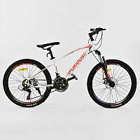 Велосипед Спортивный CORSO FURIOUS 24 дюйма, JYT 009 - 9983 WHITE-RED (1) металлическая рама 13``, 21 скорость, собран на 75%