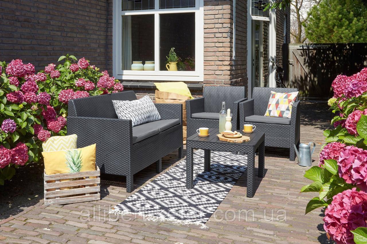 Набор садовой мебели Orlando Set With Small Table Graphite ( графит ) из искусственного ротанга ( Allibert )