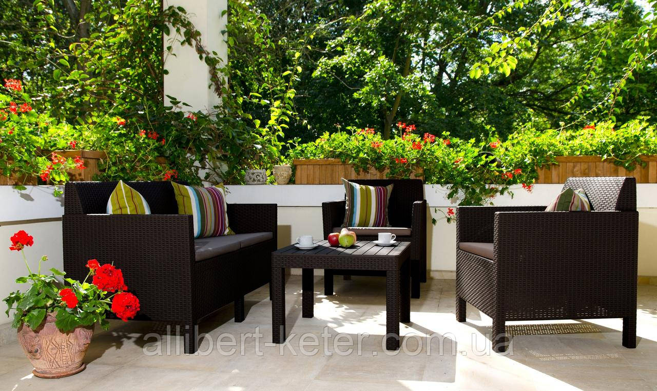 Набор садовой мебели Orlando Set With Small Table Brown ( коричневый ) из искусственного ротанга