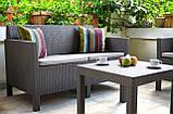 Набор садовой мебели Orlando Set With Small Table Cappuccino ( капучино ) из искусственного ротанга (Allibert), фото 8