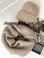 Комплект женская шапка + шарф (хомут снуд) темно-бежевый