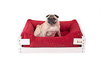 Лежак c каркасом для собак Harley and Cho Dreamer White + Red 3020179, 60*45 см