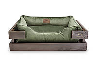 Лежак c каркасом для собак Harley and Cho Dreamer Brown + Green Velur 3020236, 60*45 см