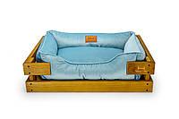 Лежак c каркасом для собак Harley and Cho Dreamer Nature + Blue Velur 3101649, 70*50 см