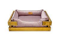 Лежак c каркасом для собак Harley and Cho Dreamer Nature + Pink Velur 3020212, 60*45 см