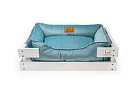 Лежак c каркасом для собак Harley and Cho Dreamer White + Blue Velur 3101645, 50*40 см