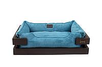 Лежак c каркасом для собак Harley and Cho Dreamer Brown + Blue Velvet 3100348, 70*50 см