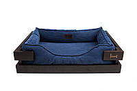 Лежак c каркасом для собак Harley and Cho Dreamer Brown + Denim Velvet 3100316, 70*50 см