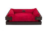 Лежак c каркасом для собак Harley and Cho Dreamer Brown + Red Velvet 3100295, 50*40 см