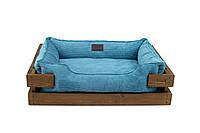 Лежак c каркасом для собак Harley and Cho Dreamer Nature + Blue Velvet 3020153, 60*45 см